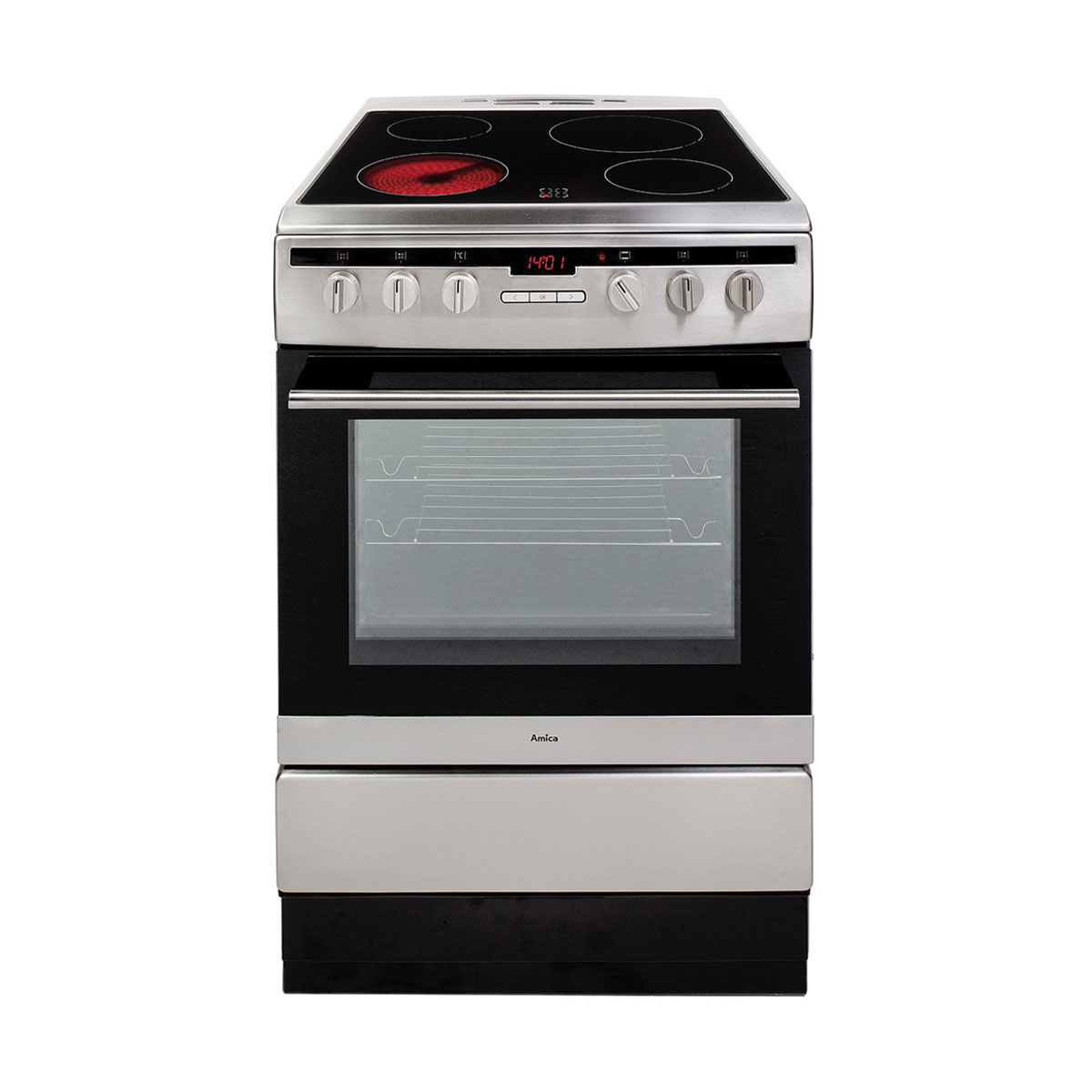 An image of Amica 608CE2TAXX 60cm Electric Cooker with Ceramic Hob - Stainless steel - A Rat...