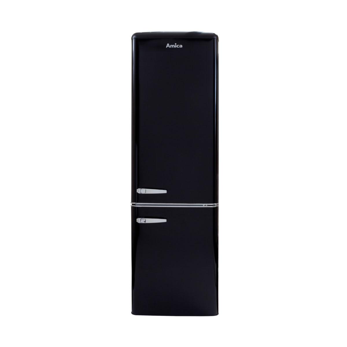 An image of Amica FKR29653B 60/40 Retro Fridge Freezer - Black - F Rated