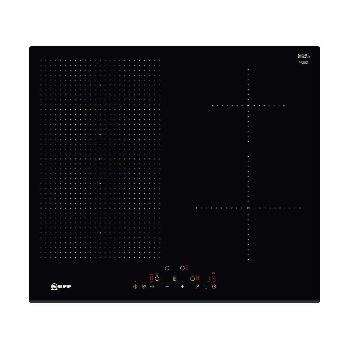 An image of Neff T56FD50X0 60cm FlexInduction Induction Hob - Black